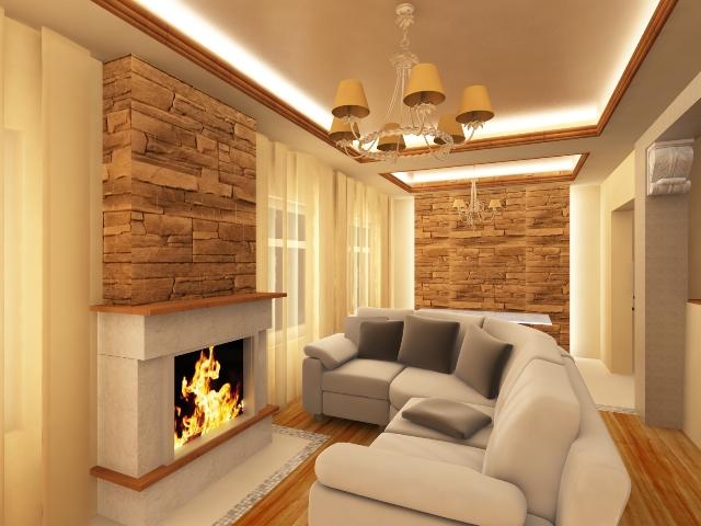Дизайн інтерєрів вітальні в заміському будинку.